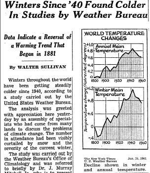 """Winters Since '40 Found Colder In Studies by Weather Bureau"" by Walter Sullivan, New York Times, 25 January 1961"