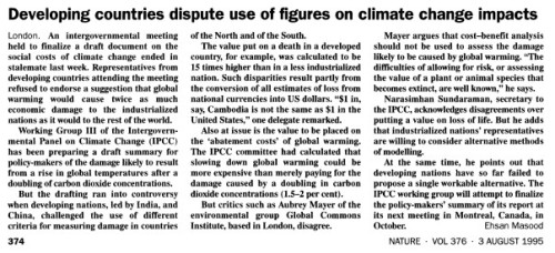 'Developing countries dispute use of figures on climate change impacts' by Masood, Nature, Vol 376 (3Aug95) p374